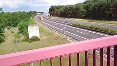 Public flashing motorway bridge - jerking and cumming for dr