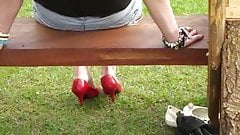 Candid heel  red shoes