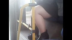 Mature sexy full legs in pantyhose! Amateur hidden cam