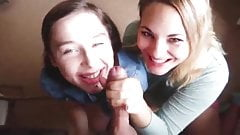 Two teens sucking cock, lipstick and cum on face