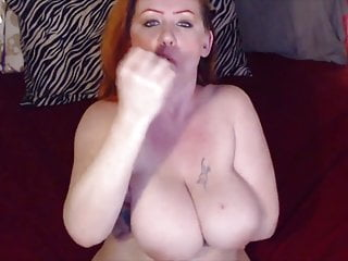 Dirty talking MILF Sunny with huge breasts sucking dildo