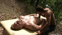 Gorgeous Fit Gay Boys Massage Session Outdoors