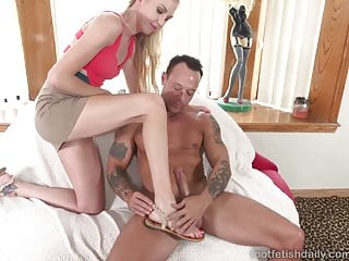 Kara Stone Has a Cock Stuffing and Gives a Footjob