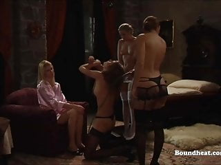 Four Naughty Mistresses Whipping One Slave