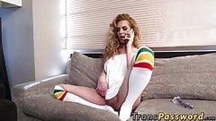 Blonde big titted shemale wanking her big stiff rod