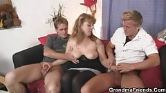 Cocksucking lady riding cock