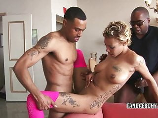 Ebony hottie Diamond gets fucked by two stiff cocks