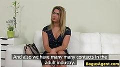 Beautiful blonde euro tit fucks and sucks cock