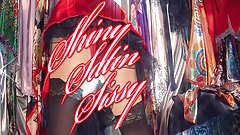 Red Satin Retro Swing Dress