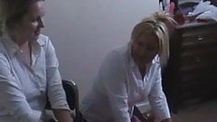 College uniformed girls Kaz and Amber play truth or dare