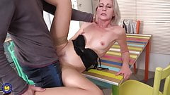 Gorgeous mature mom suck and fuck son on kitchen