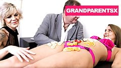 Hungry GrandParents Use Juicy Teen as a Food Table