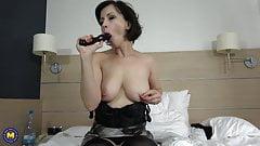 Sexy mother suck and fuck black dildo