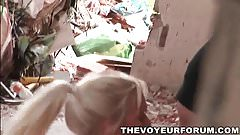 Two sexy babes get fucked in an abandoned building