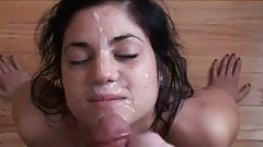 Giving the cute amateur girl a facial in slo-mo