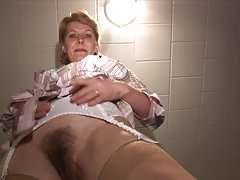 Gorgeous Mature blonde Milf in stockings with hairy pussy