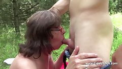 Mom get touched outdoor by young men and fuck hard