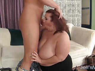 Fat lady removes her giant titties and she sucks hard cock