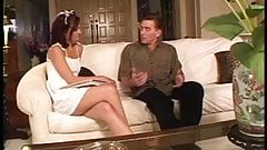 Sexy brunette school girl is fucked doggystyle on couch by older guy