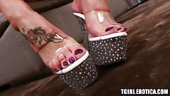 Seductive tranny shows off feet before masturbating wildly