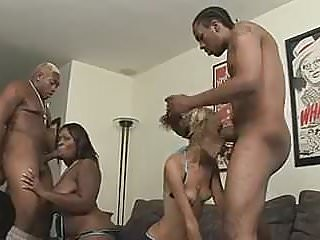 Blonde and brunette ebony girls fuck two studs side by side