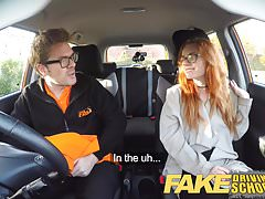Fake Driving School Creampie In Nerdy Ginger Teen Hairy Muff