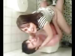 Couple have wild sex on toilet