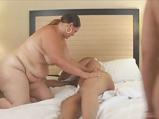 Two huge black sluts take turns sucking hung studs hard cock
