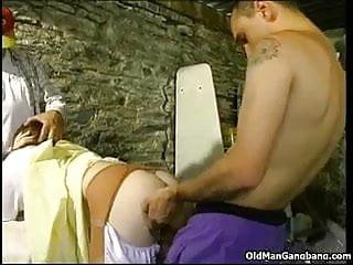 Horny bums do a three-way