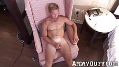 Blue eyed soldier Tristan strokes his hard cock solo