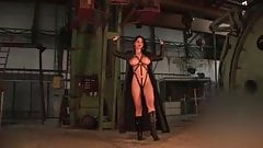 Busty Brunettes Stripdance In Leather Harness & Coat