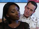 Ebony babe in sexy lingerie Osa Lovely gets hot jizz on her