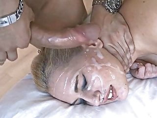 Blonde Gets Her Face covered in Cum