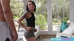 Ebony teen slut Holly Hendrix drilled hard in her tiny assho