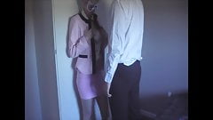 Skirt suit, satin blouse, panties, clothed cum on blouse