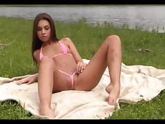 Bikini Pleasure-brunette Girl pink Bikini