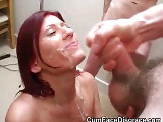 Pretty redheads face takes a cum creaming
