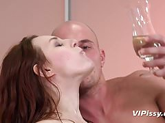 Piss and cum mouth cocktail for this piss thirsty girl