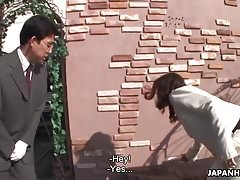 Minako sucking off the servant and getting him off hard
