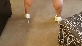 Italia thick legs and big ass bent over in baby doll skirt