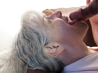 Grey haired granny blowjob and cum in her mouth
