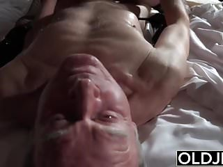 Grandfather fucks the hot maid fingers her young pussy
