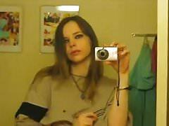 Selfie of emo teen showing hairy pussy