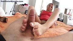 Sexy Blonde In High Hells Making Footjob