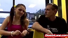 Donny Long destroys pigtail teen and makes her swallow huge