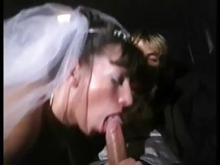 New bride gives blowjob in limo