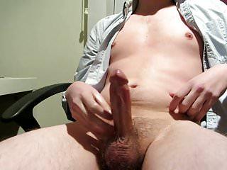 Office boy sensually masturbating until strong climax