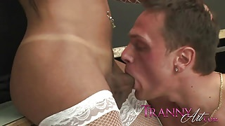 Tranny Art Shemale in white lingerie butt fucking a dude