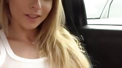 American blonde, public squirt in car.