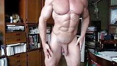 Nude bodyuilder flex pose